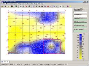картограмма разности главных механических напряжений РГМН по результатам измерения механических напряжений прибором StressVision