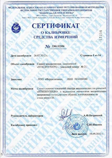 Сертификат о калибровке средства измерения механических напряжений